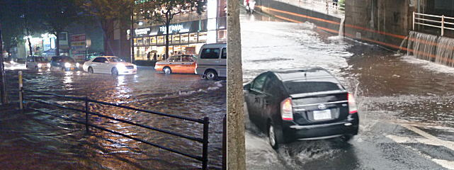 道路の冠水に注意